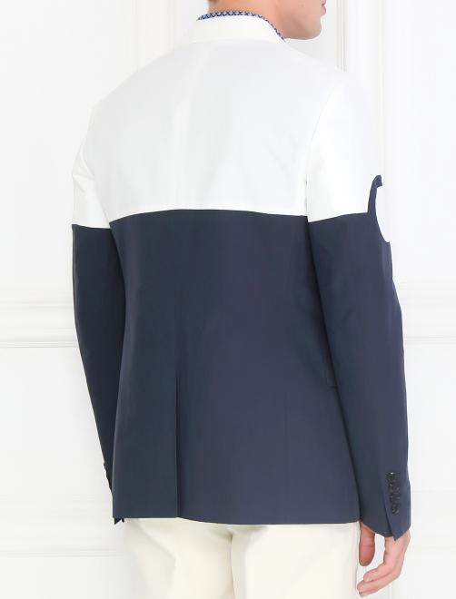 Однобортный пиджак из хлопка и льна - Модель Верх-Низ1