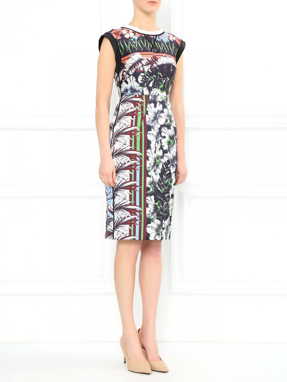 Платье-миди из смешанного шелка с цветочным узором Aquilano Rimondi  –  Модель Общий вид  – Цвет:  Черный