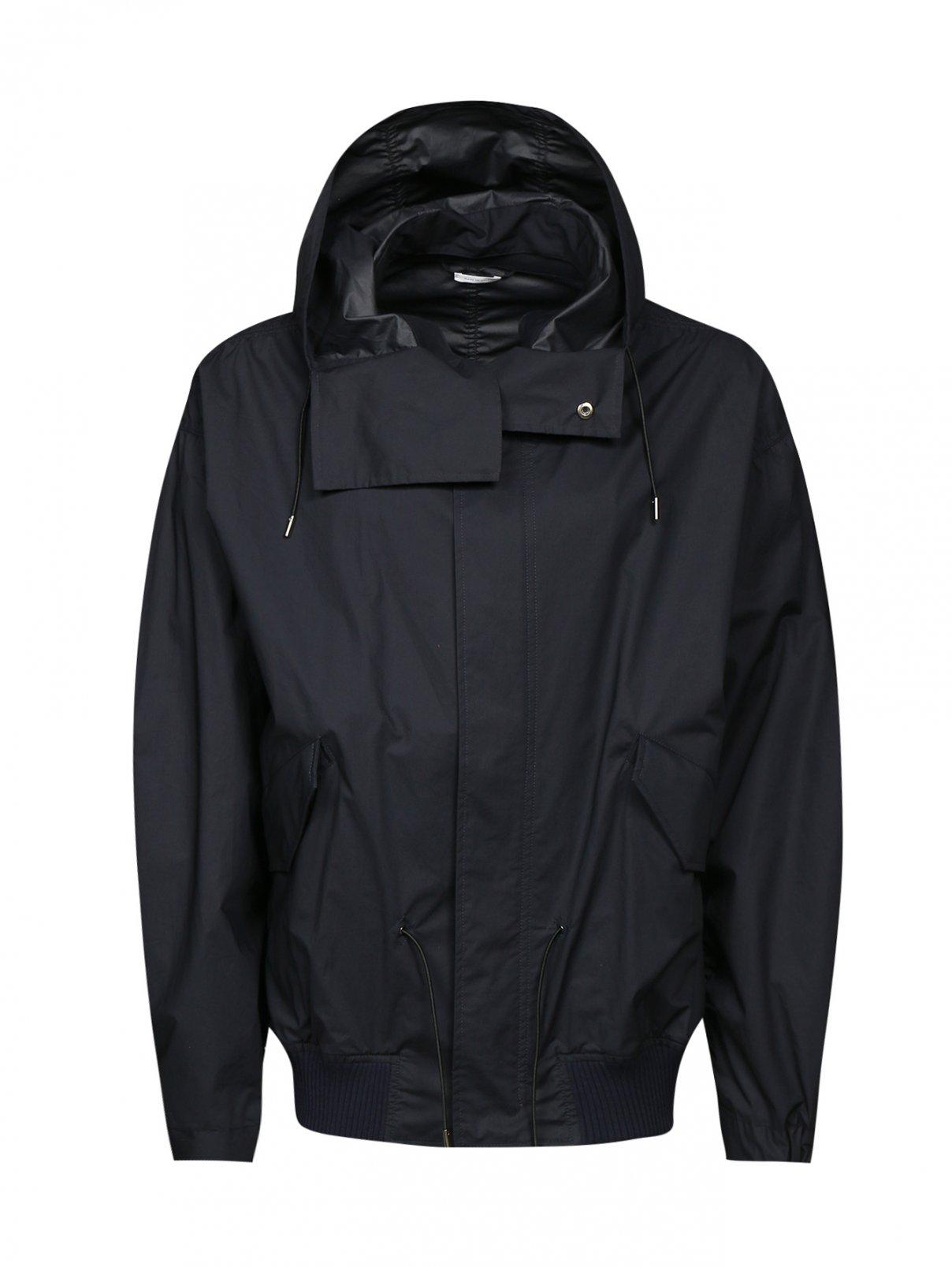 Куртка из хлопка на молнии с капюшоном Jil Sander  –  Общий вид  – Цвет:  Синий