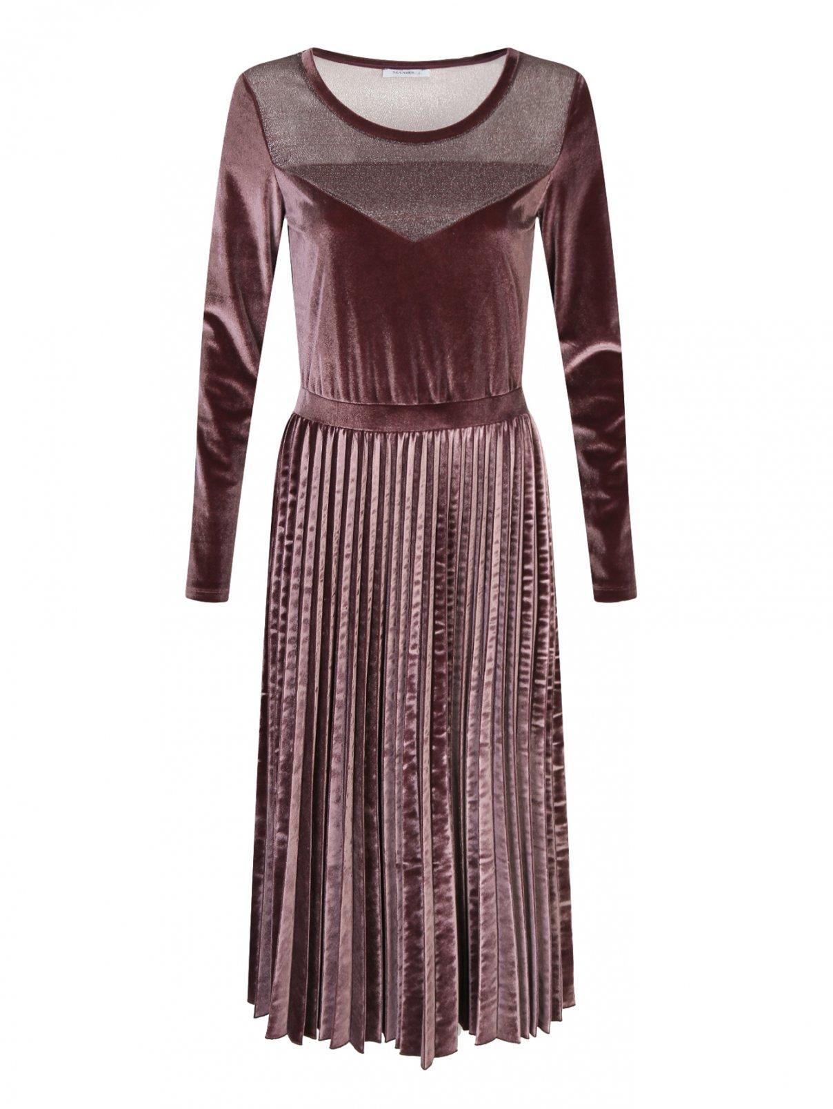 Бархатное платье с плиссированной юбкой Max&Co  –  Общий вид