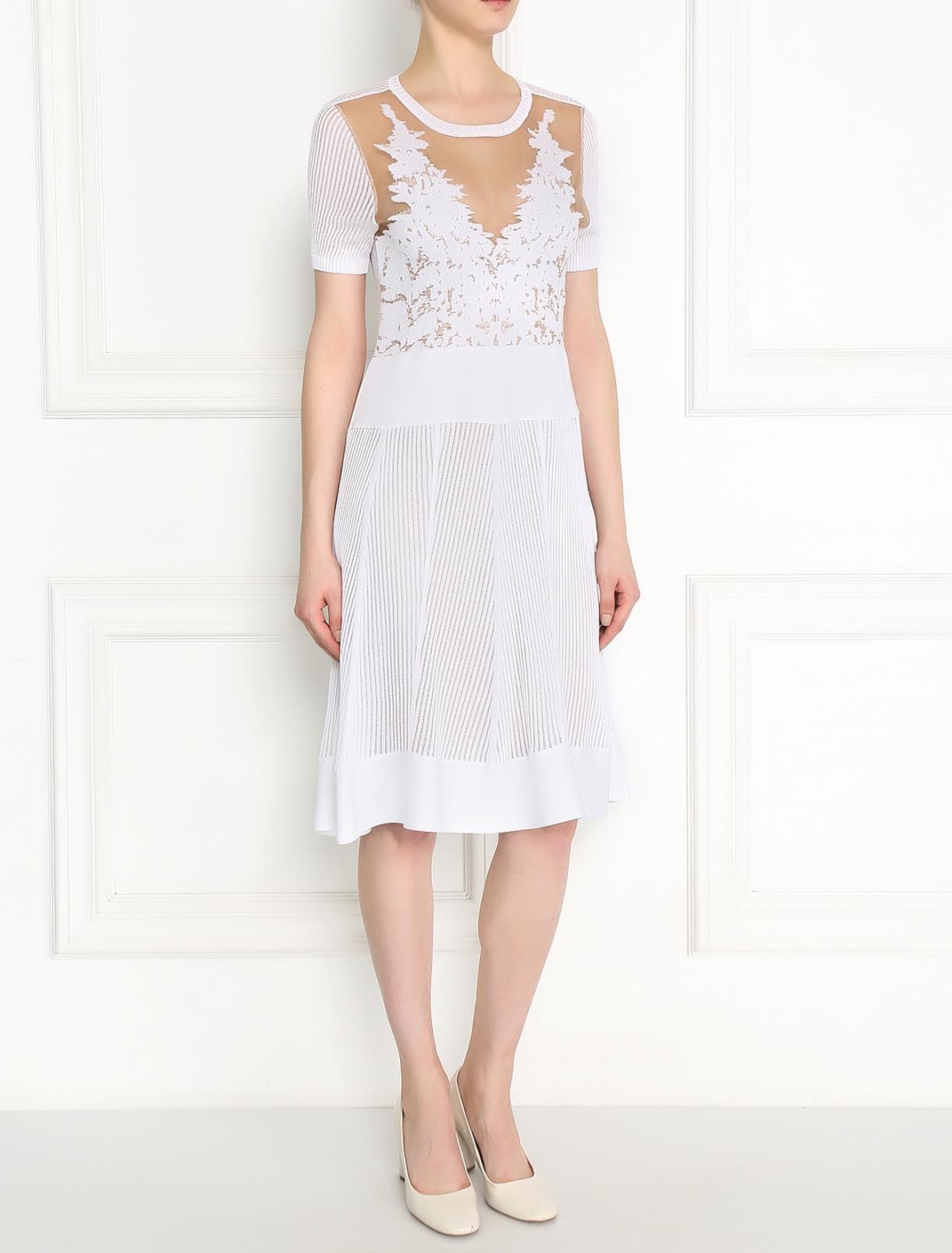Трикотажное платье-миди фактурной вязки Alberta Ferretti  –  Модель Общий вид