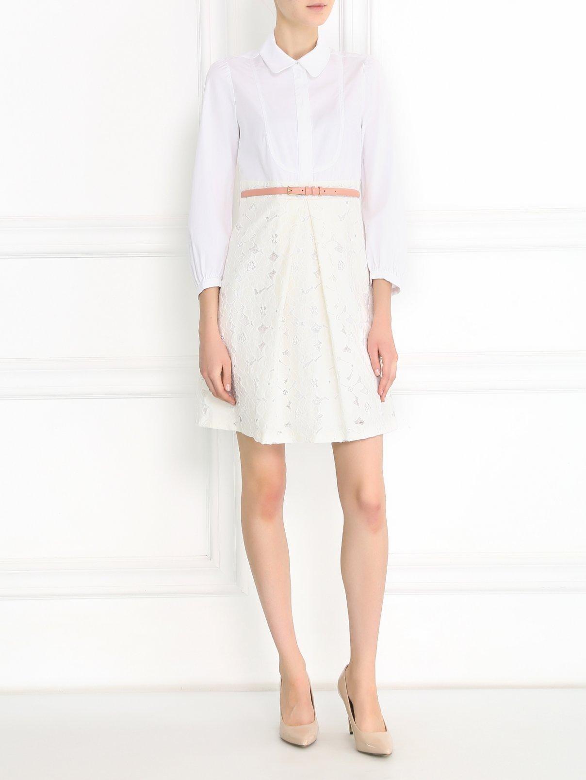 Платье-мини с кружевной юбкой Tara Jarmon  –  Модель Общий вид