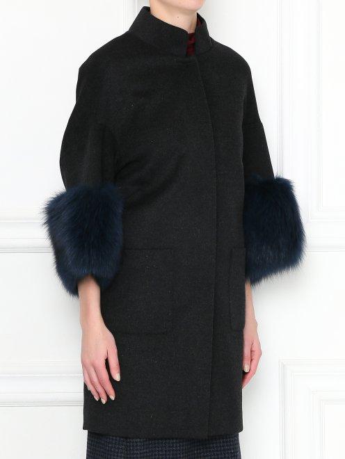Пальто из шерсти с рукавами 3/4 - МодельВерхНиз