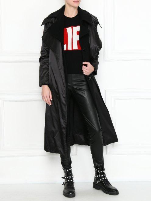 Пальто свободного кроя с поясом - Общий вид