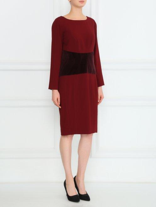 Платье-футляр с бархатной вставкой - Общий вид