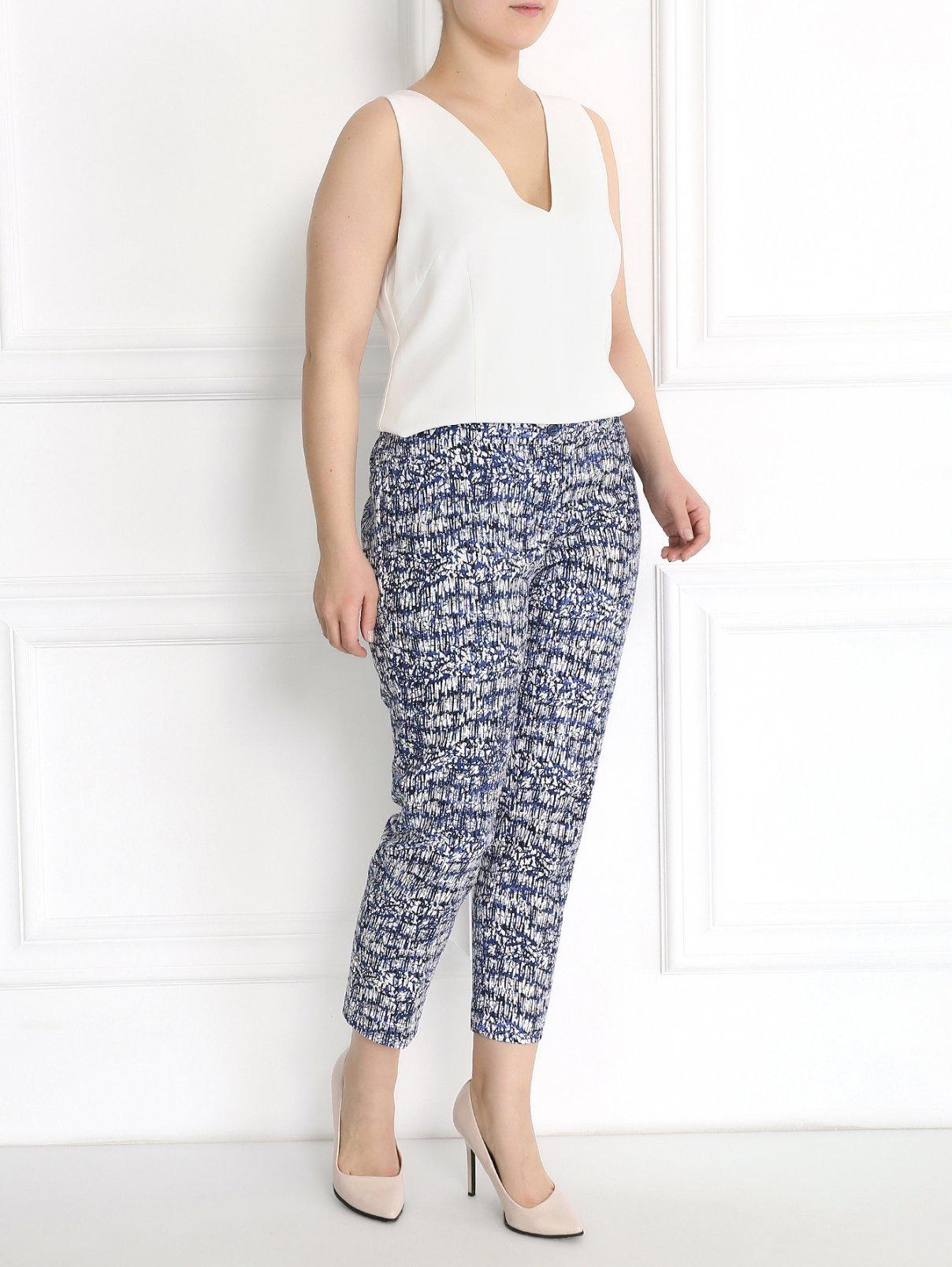 Укороченные брюки из хлопка с узором Marina Rinaldi  –  Модель Общий вид