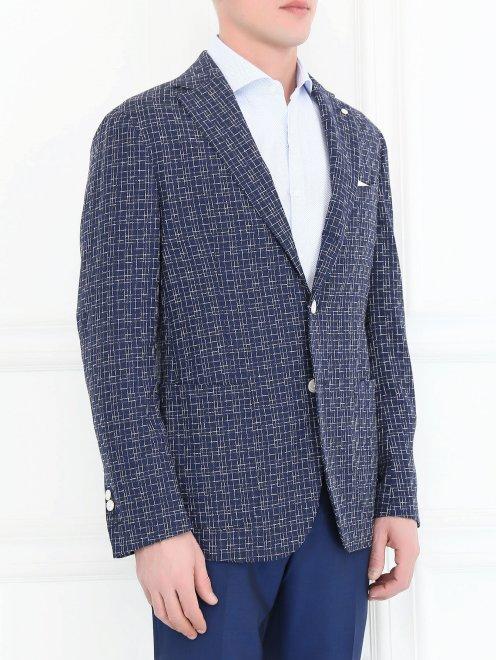 Пиджак с узором из шерсти и шелка - Модель Верх-Низ